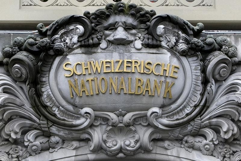 A Swiss National Bank (SNB) logo is pictured on the SNB building in Bern October 16, 2008. REUTERS/Pascal Lauener