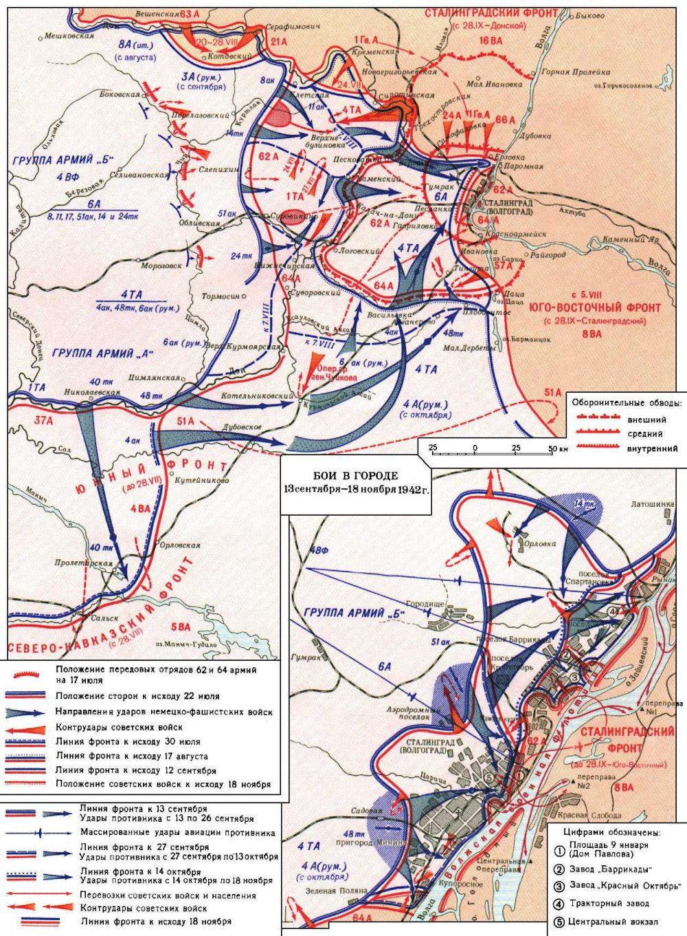 битва за сталинград карта