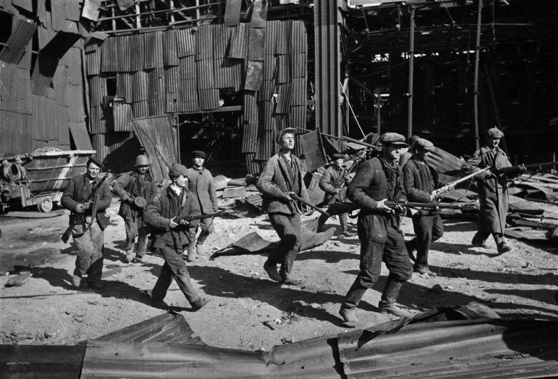 битва за сталинград - рбочее ополчение защищает свой завод