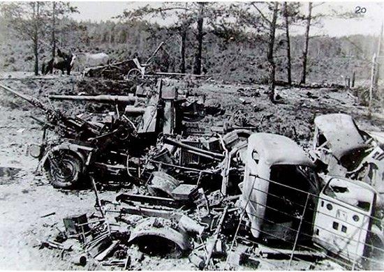 5-й сталинский удар Уничтоженная в ходе наступления немецкая техника. Район Могилева