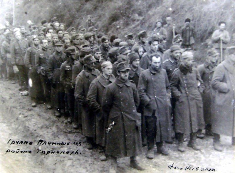 6-й сталинский удар Группа немецких пленных. Июль 1944 года, близ Львова