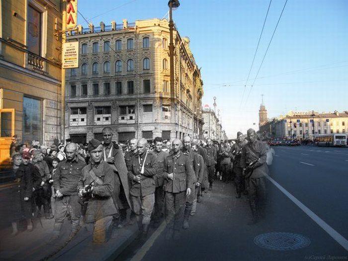 Блокадный и современный Ленинград
