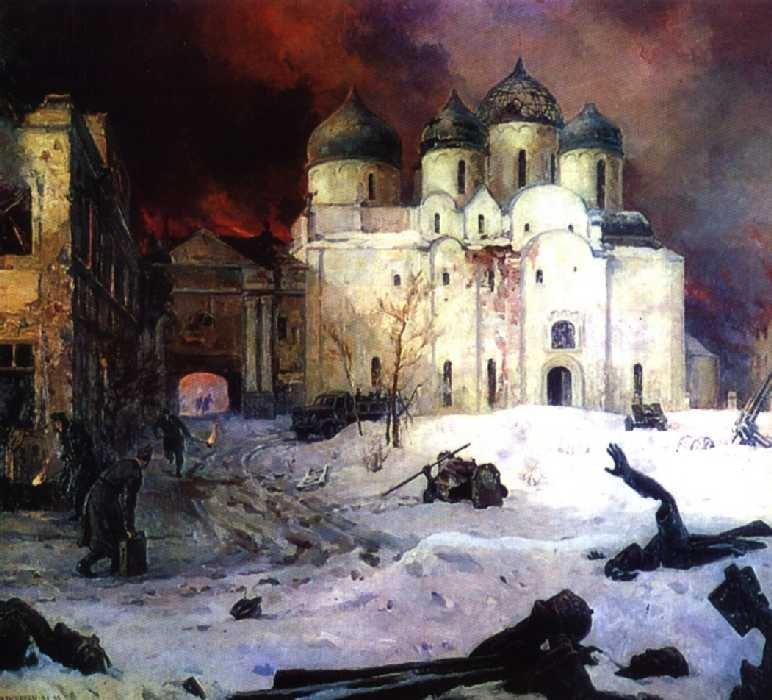 Картина 'Бегство фашистов из Новгорода', Кукрыниксы, 1944—1946 гг.