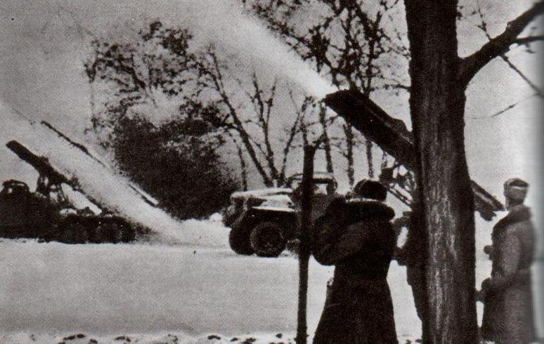 Залп гвардейских миномётов.Район Корсунь-Шевченковского. Зима 1944 г.