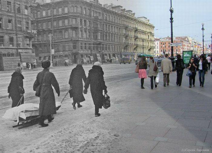 блокадный и современный Ленинград0