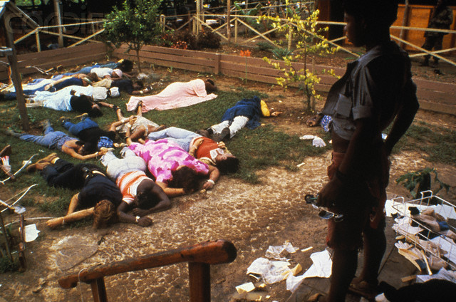 23 Nov 1978, Jonestown, Guyana --- People's Temple Cult mass suicide at Jonestown, Guyana. --- Image by © Bettmann/CORBIS