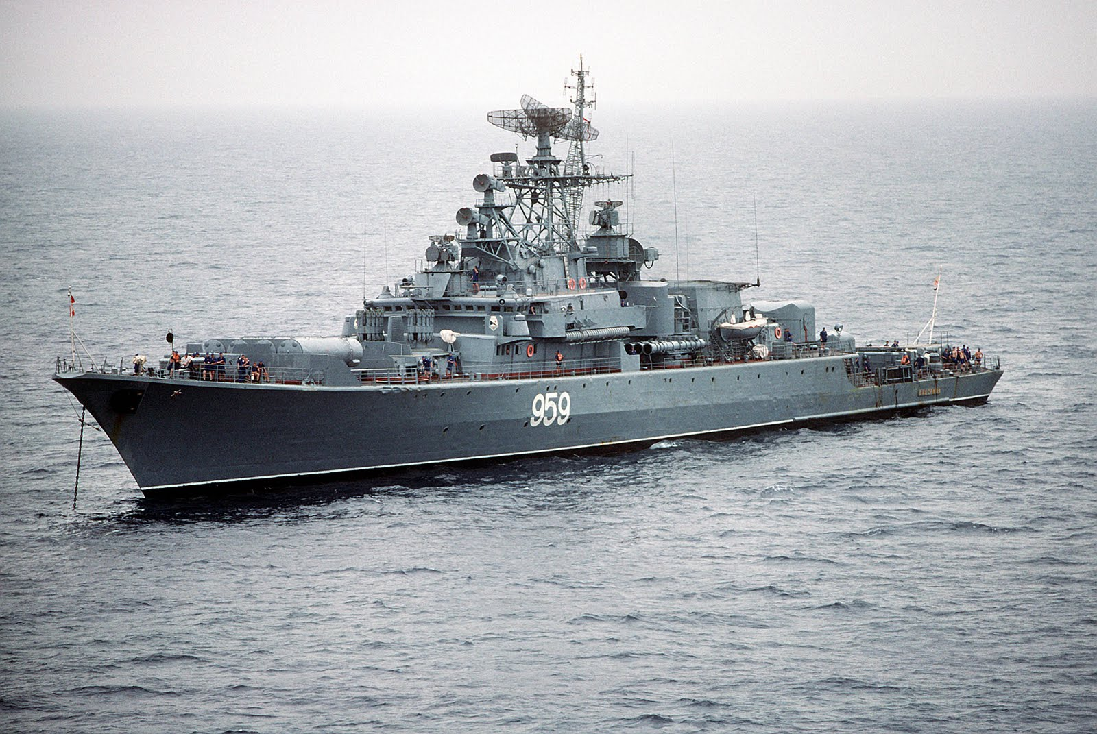 A port bow view of the Soviet Krivak I Class guided missile frigate 959 at anchor.