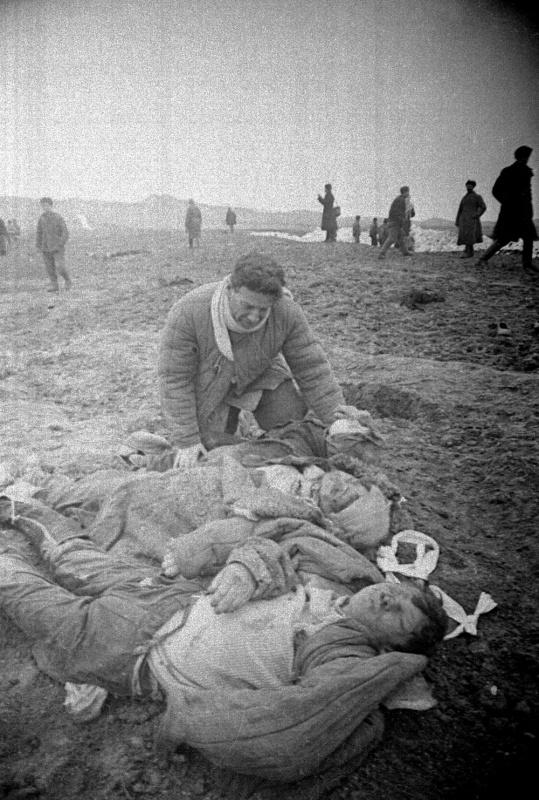Багеровский противотанковый ров близ Керчи. Григорий Берман над телами жены и детей1