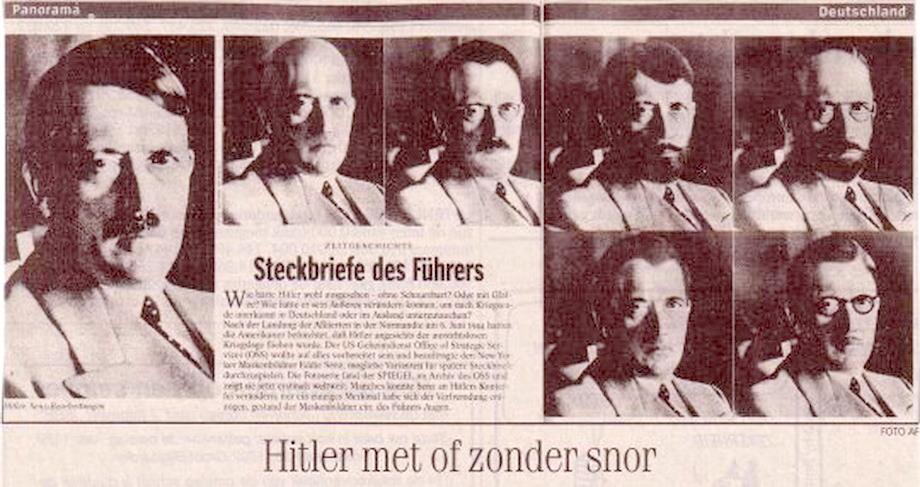 Фотомонтаж ФБР, сделанный в 1945 году на тот случай, если Гитлер попытается скрыться, изменив внешность.