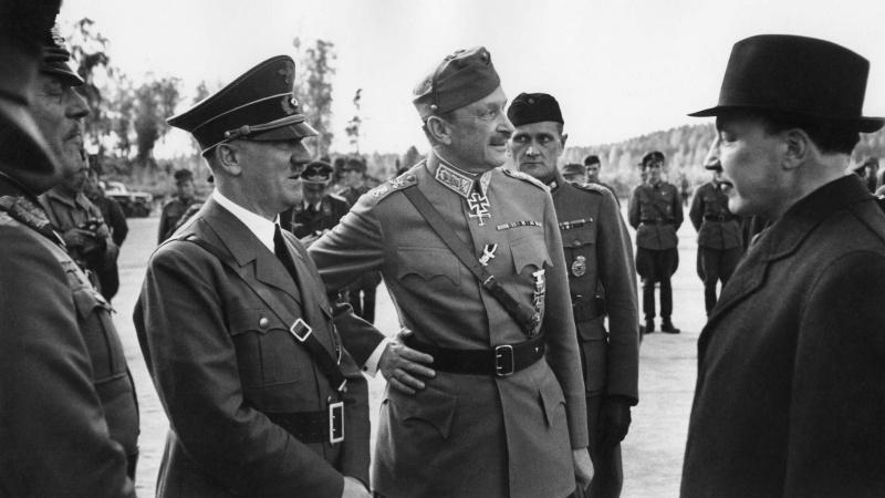 Гитлер, маршал Маннергейм и президент Рюти в Иматре. 04.06.1942г.