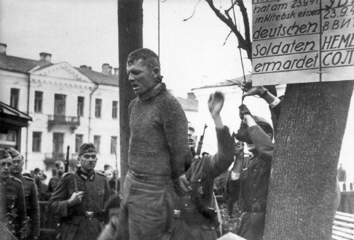 Казнь подпольщика Владимира Виноградова, убившего в Витебске немецкого солдата 23.09.1941