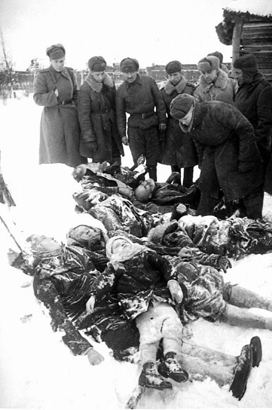 Красноармейцы у тел замученных немцами мирных жителей — женщин, детей, стариков. Гатчина (в 1929—1944 гг — Красногвардейск).