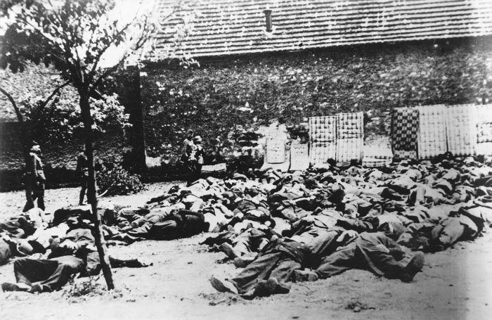 Немецкие солдаты возле трупов расстрелянных жителей шахтерского поселка Лидице (Lidice) в Чехословакии (20 км к западу от Праги). 10.06.1942г