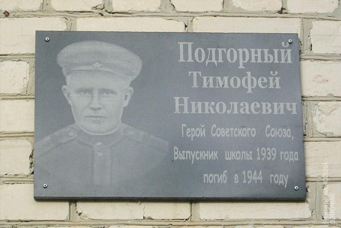 Подгорный Тимофей Николаевич пам доска