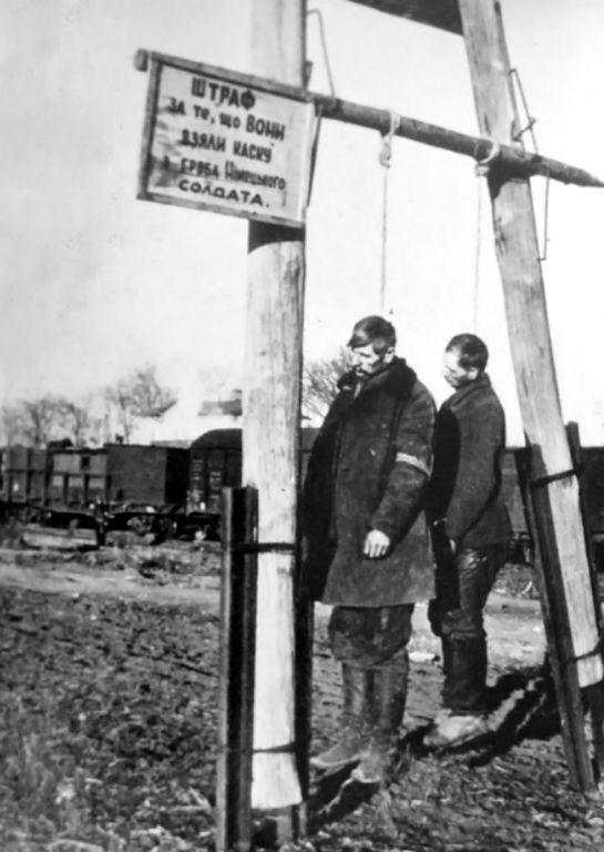 Повешенные за украденную каску с надгробья немецкого солдата советские мирные жители. Сведений о времени и месте съёмки нет