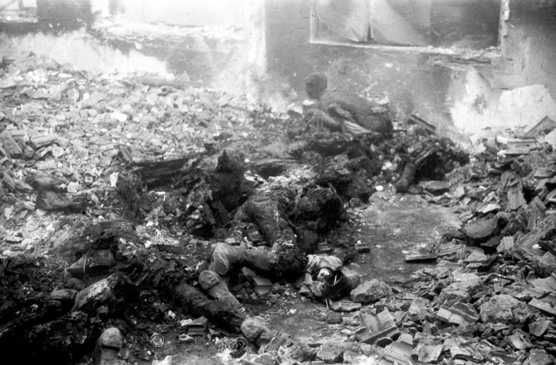 Сожженные гитлеровцами на Украине советские люди.