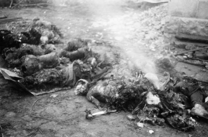 Сожженные немцами в городе на Украине советские люди.