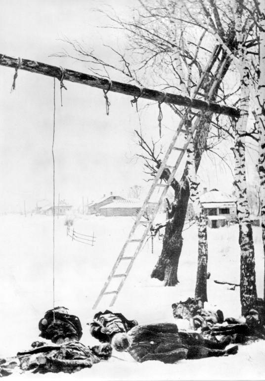 Тела советских граждан, повешенных немцами во время оккупации Волоколамска. 1941г..