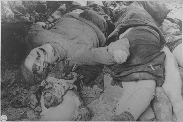 Жертвы немецкого артиллерийского обстрела в Ленинграде Время съёмки 16.12.1941г