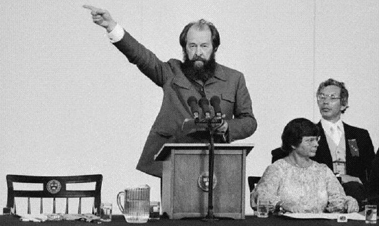 "08 Jun 1978, Cambridge, Massachusetts, USA --- Exiled Soviet author Alexander Solzhenitsyn, is shown here in a commencement address at Harvard University, where he said that the most noticeable thing about the West is what he called ""decline in courage."" Earlier in the day, the noted author received an honorary degree in Doctorate of Humane Letters from the university, during its 327th Commencement exercises. --- Image by © Bettmann/CORBIS"