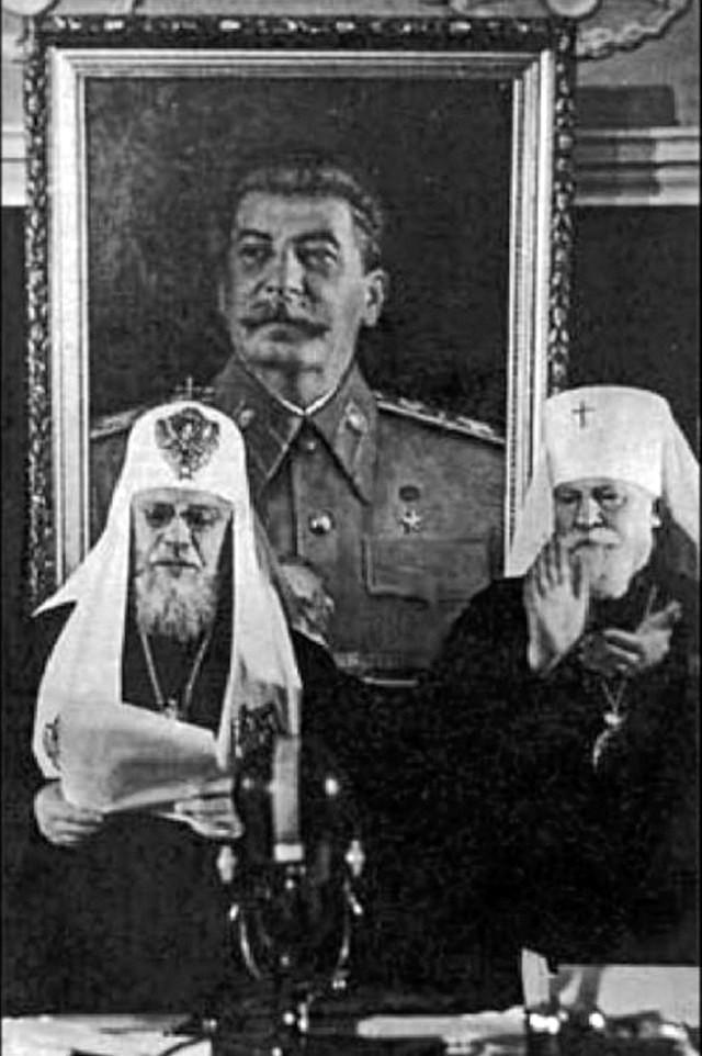 Алексий1 у портрета Сталина