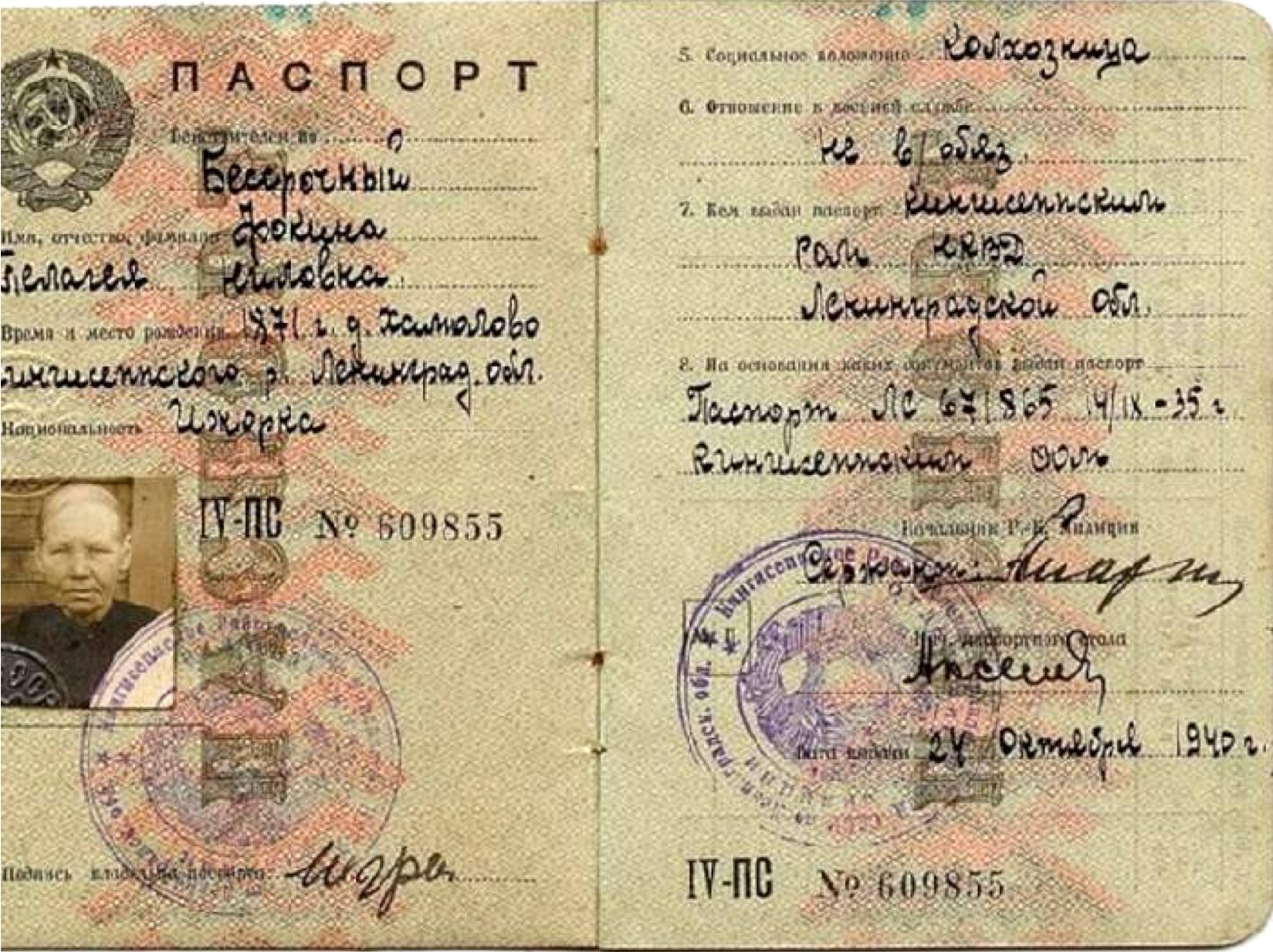 Паспорт колхозницы