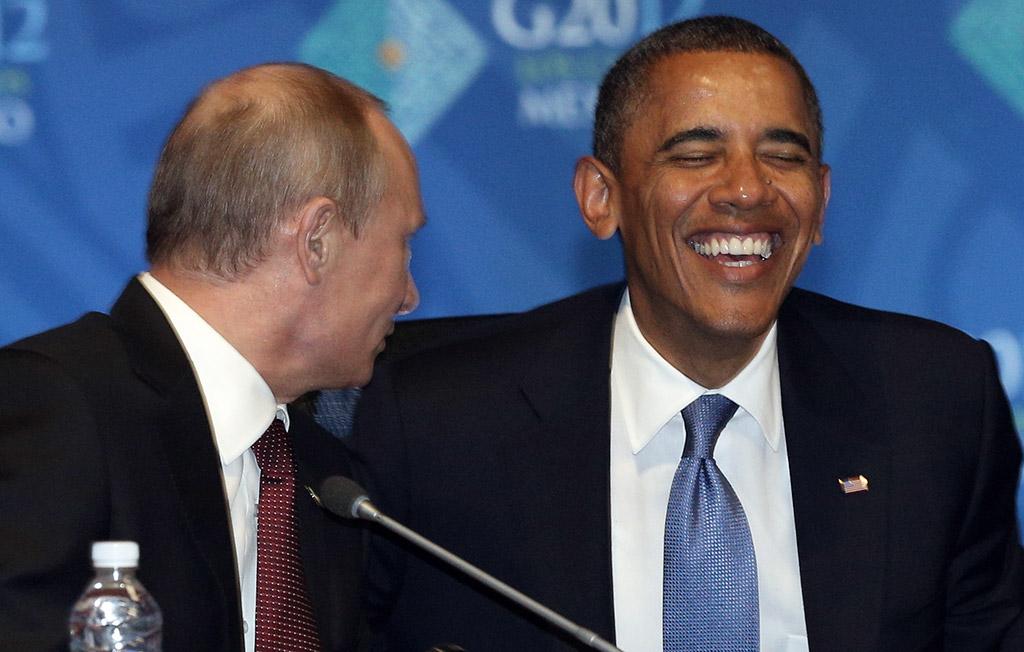 Путин и Обама с улыбкой