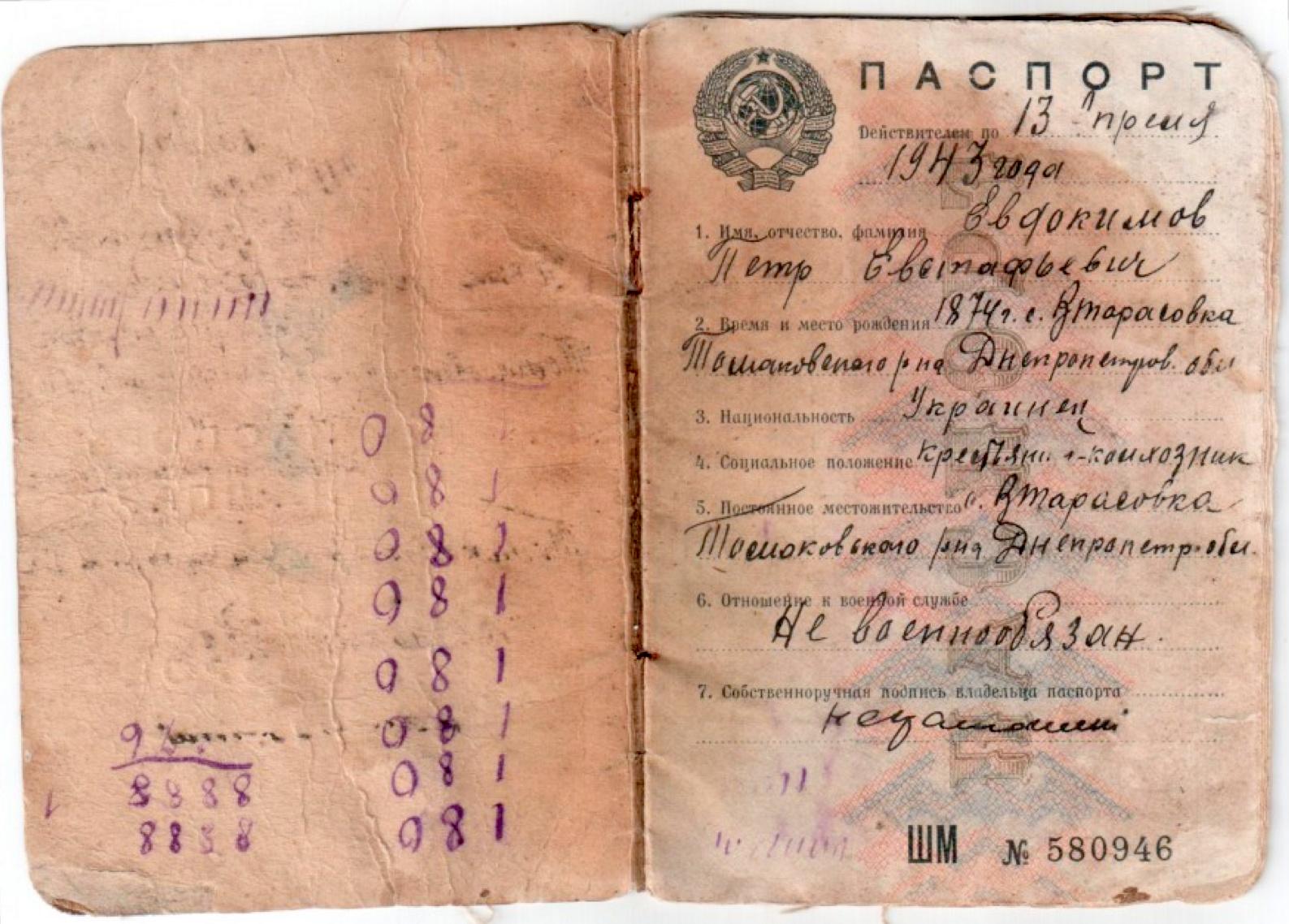 паспорт колхозника ссср-0