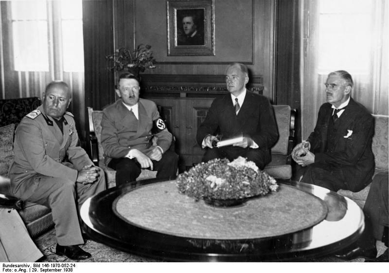 M?nchener Abkommen, Mussolini, Hitler, Chamberlain
