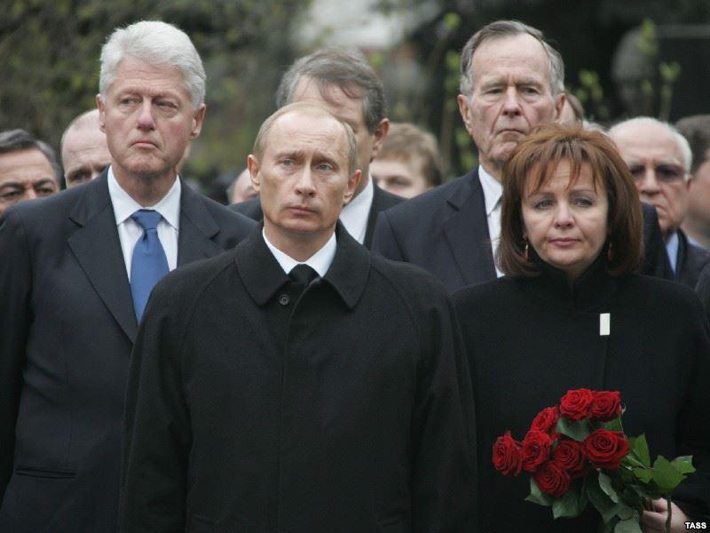путин клинтон буш скорбят по смерти ельцына